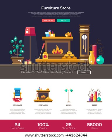 House Interior And Domestic Furniture Online Store Web Site One Page Website Template Layout With Flat