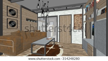 House Interior Design, Architecture Drawing