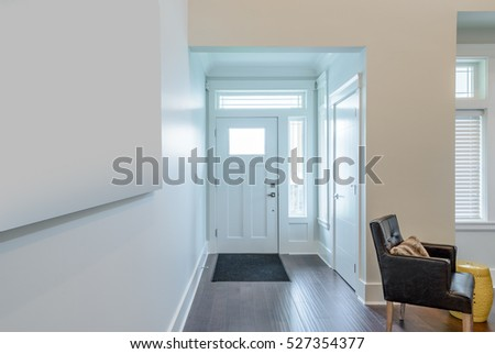 House Interior. Entrance Hallway With White Door And Hardwood Floor. Part 58