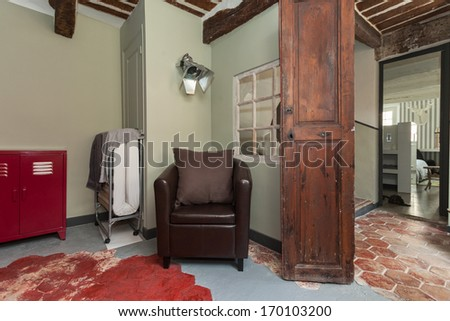 House interior equipped with decorative vintage furniture - stock photo