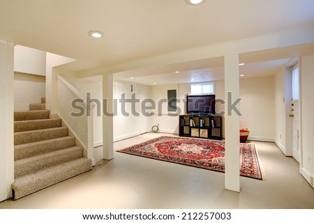 House Interior. Ideas For Basement Room. Entertainment Room With Tv