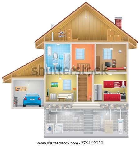 House Interior on White Background - stock photo