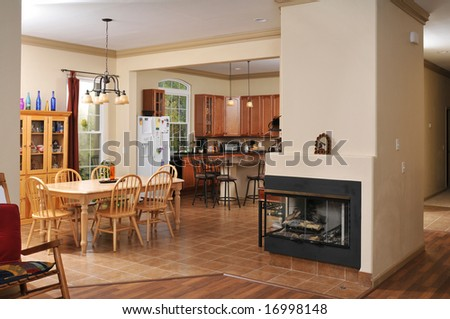 House interior showing the living room and kitchen - stock photo