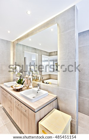 House interior washing area with a mirror and glass bottles like soap or perfume near to fancy flowering plant on the wooden drawer, store with a basket, the tile wall in gray color covered the toilet