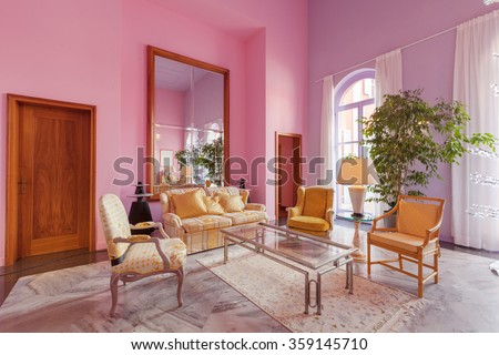 House interiors furnished, classic style living room