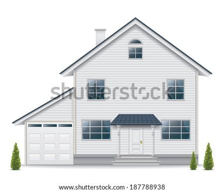 House isolated on white background - stock photo