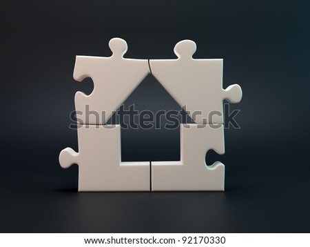 House jigsaw puzzle build of four pieces - stock photo