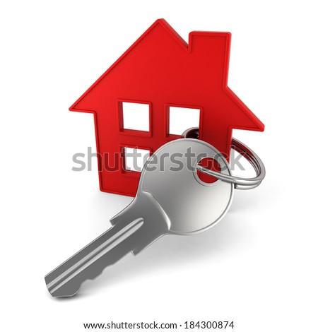 House key. 3d illustration on white background  - stock photo