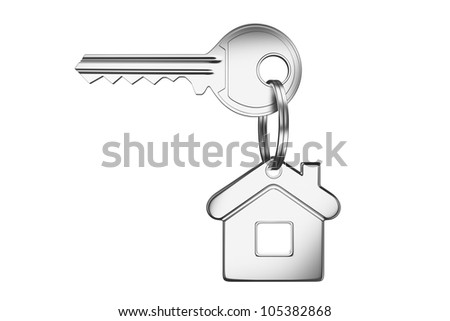 house key isolated on white background - stock photo