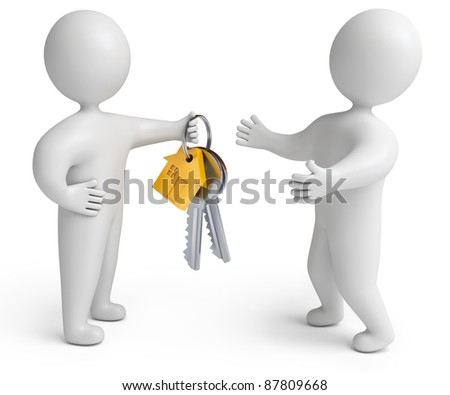 House Key, on a white background, 3d render - stock photo