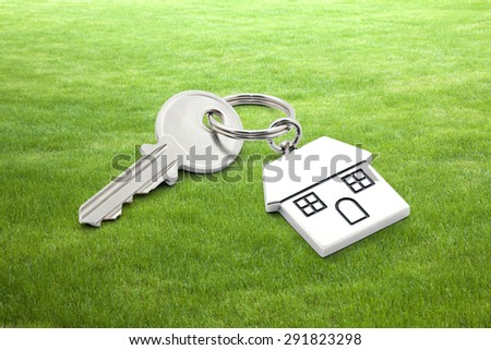 House key on grass background  - stock photo