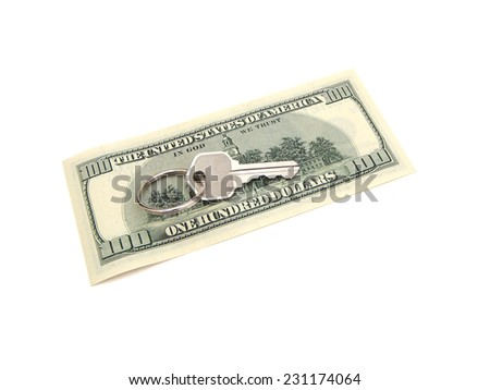 House Key On Ring Resting Upon A United States One Hundred Dollar Federal Reserve Note Over A White Surface.  - stock photo