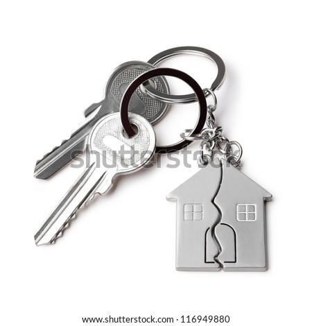house keys and Keychain on a white  background - stock photo