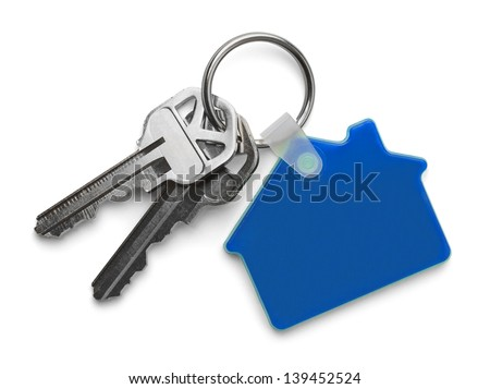 House keys with Blue House Key chain Isolated on White Background. - stock photo