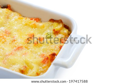 House lasagna with vegetables and sauce Bechamel - stock photo