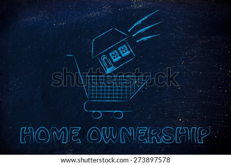 house launched inside shopping cart, concept of home ownership - stock photo