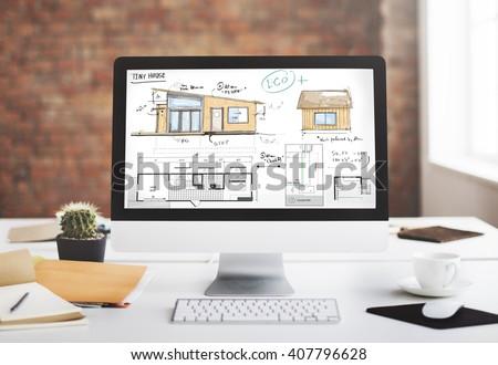 House Layout Floorplan Blueprint Sketch Concept - stock photo