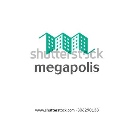 House logo design template. Real estate negative space symbol. Construction architecture icon. - stock photo