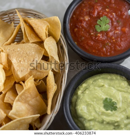 House made child guacamole and salsa  - stock photo
