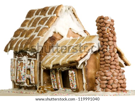 House made from flour and sugar, bakery or creativity concept - stock photo