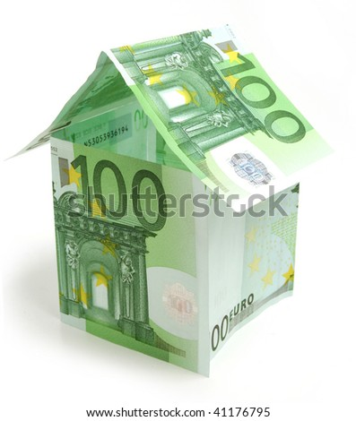 House made from hundred euro bills on white  background - stock photo