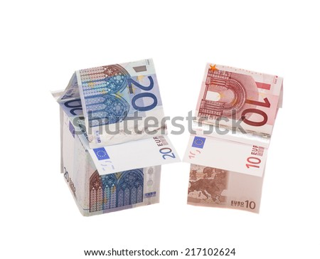 House Made From Ten And Twenty Euro Banknotes  - stock photo