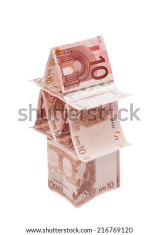 House made from ten euro banknotes  - stock photo