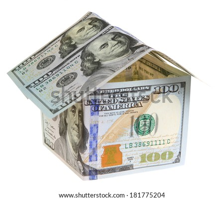 House Made of Cash Money Isolated on White Background.  - stock photo