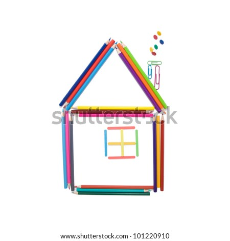 House made of colorful pencils, counting sticks, paper clips and office buttons, iready for your logo or text, solated on white background. Back to school. - stock photo
