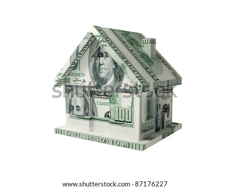 House made of dollars. 3d rendered. Isolated on white background.