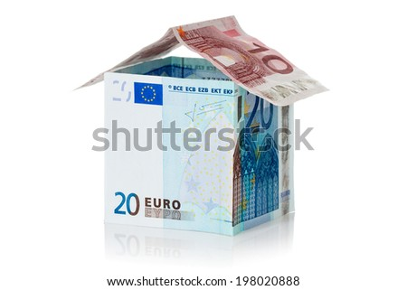 House made of euro money, isolated on white background - stock photo