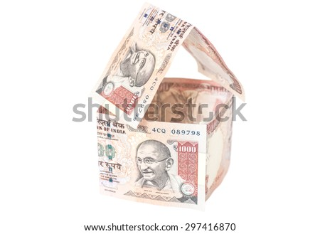 House Made of Indian 1000 rupee banknotes isolated on white - stock photo