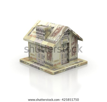 House made of 500Rs. Indian Bills on white background, High resolution sharp 3d render - stock photo