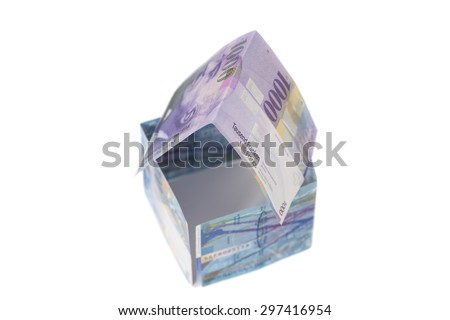 House Made of  Swiss francs banknotes.Currency of Switzerland isolated - stock photo