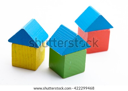 House made of wooden blocks
