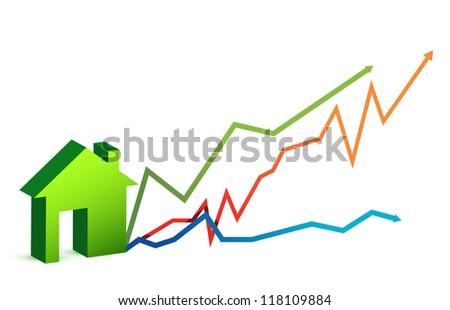 house market price arrows illustration design over white - stock photo