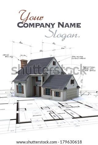 House mock-up on top of blueprints with pen notes and corrections - stock photo