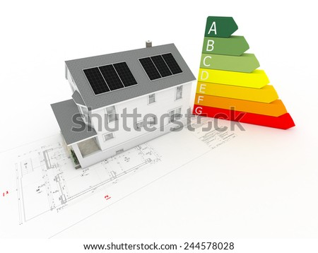 House model on architectural drawing with photovoltaic panels - stock photo