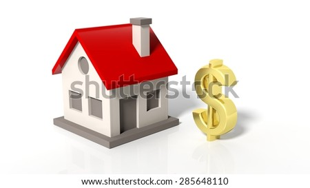 House model with golden dollar sign isolated on white background