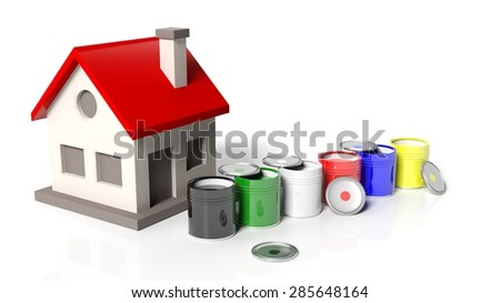 House model with paint buckets isolated on white background - stock photo