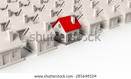 House models with one standing out isolated on white background - stock photo
