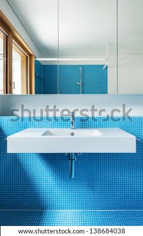 house modern design, interior, blue bathroom - stock photo