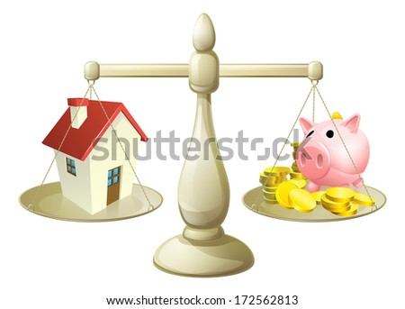 House money cales concept. Piggy bank on one side of a scale and a house on the other. Can have several meanings relating to real estate, savings or mortgages
