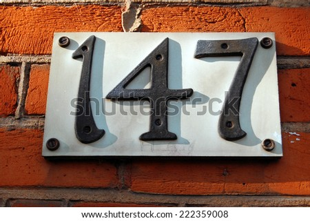 house number 147 - stock photo
