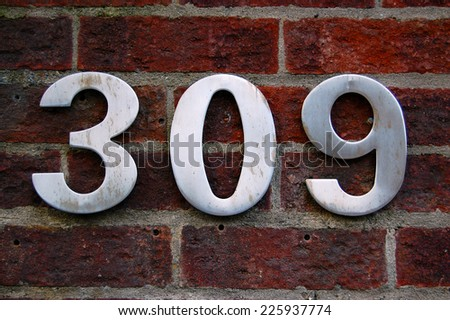 house number 309 - stock photo