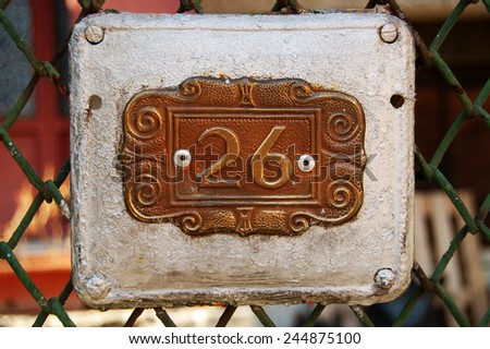 house number 26 - stock photo