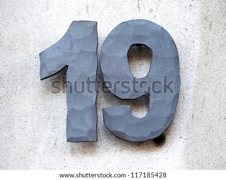 House number-nineteen - stock photo