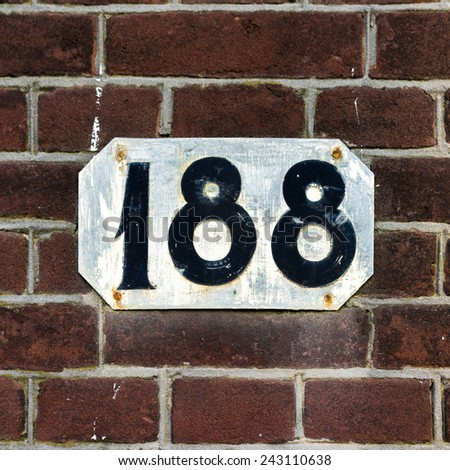 house number one hundred and eighty eight. - stock photo