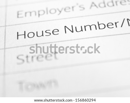 HOUSE NUMBER printed on a form close up