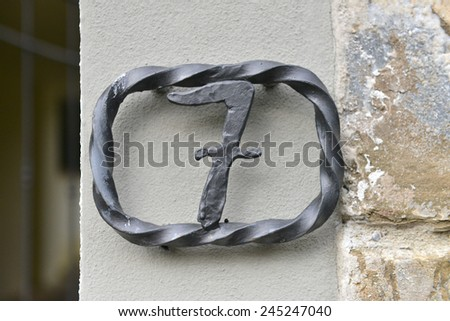house number seven  - stock photo